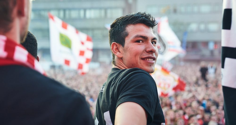 Football player Hirving Lozano from Mexico during PSV Eindhoven title celebrations