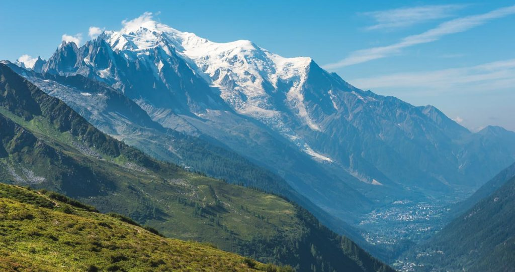 Mont Blanc and the valley of Chamonix in the French alps