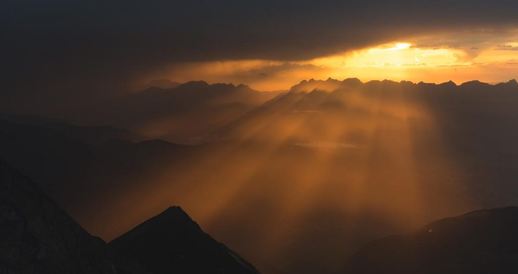 Dramatic sunset in the French Alps near Mont Blanc