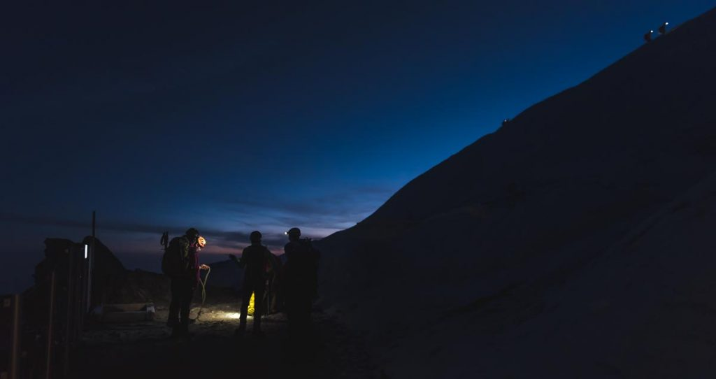 Group of alpinists on Mont Blanc in early morning
