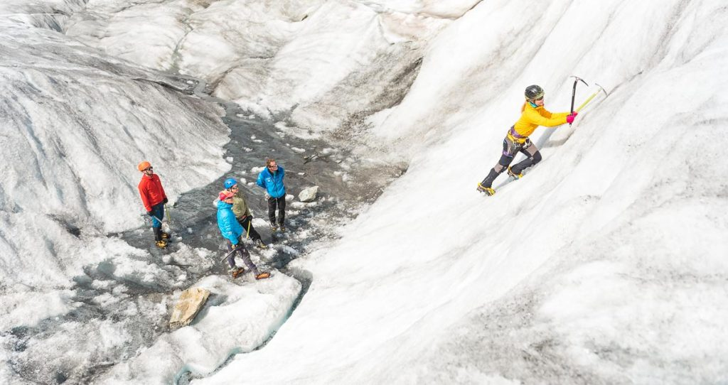 Mountaineers ice climbing in French Alps