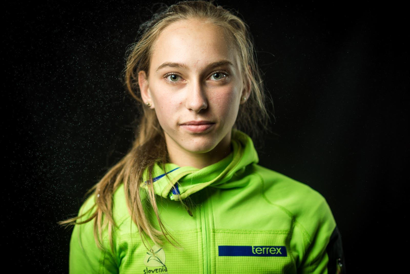 Portrait of top Slovenian climber Janja Garnbret