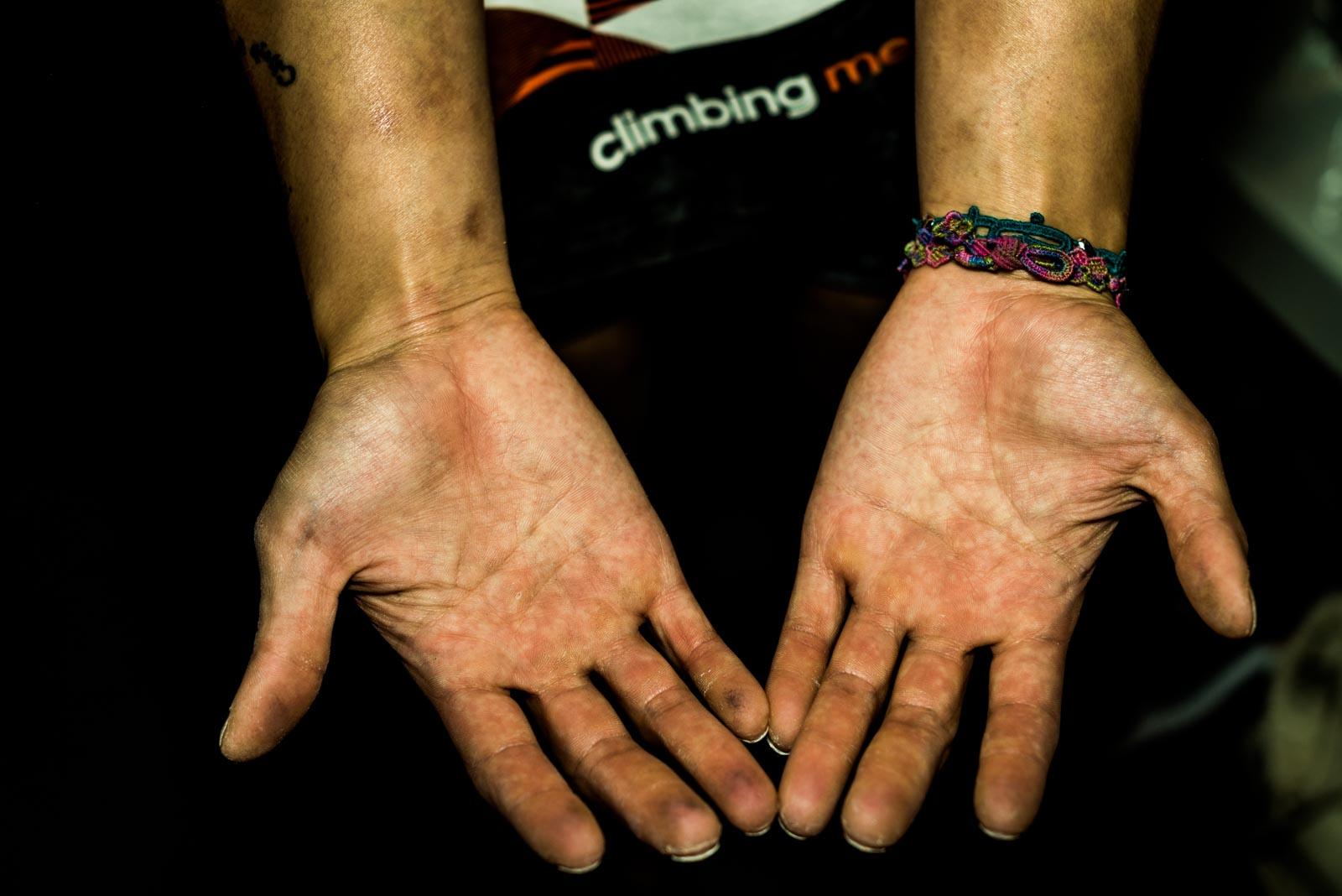 Hands of Sa Sol, climber from South-Korea