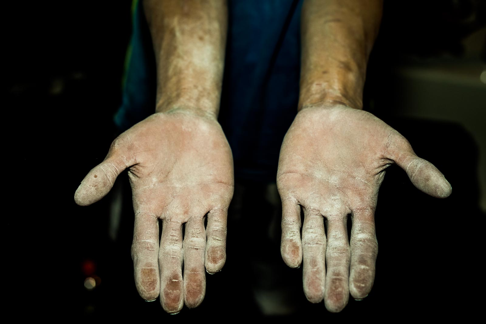 Hands of Korean climber Jongwon Chon