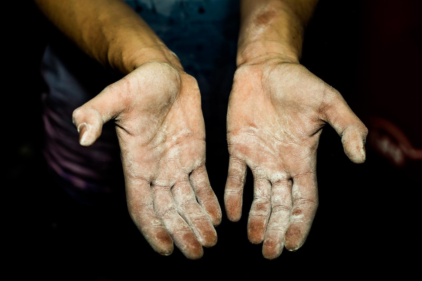 Hands of Slovenian climber Julia Kruder