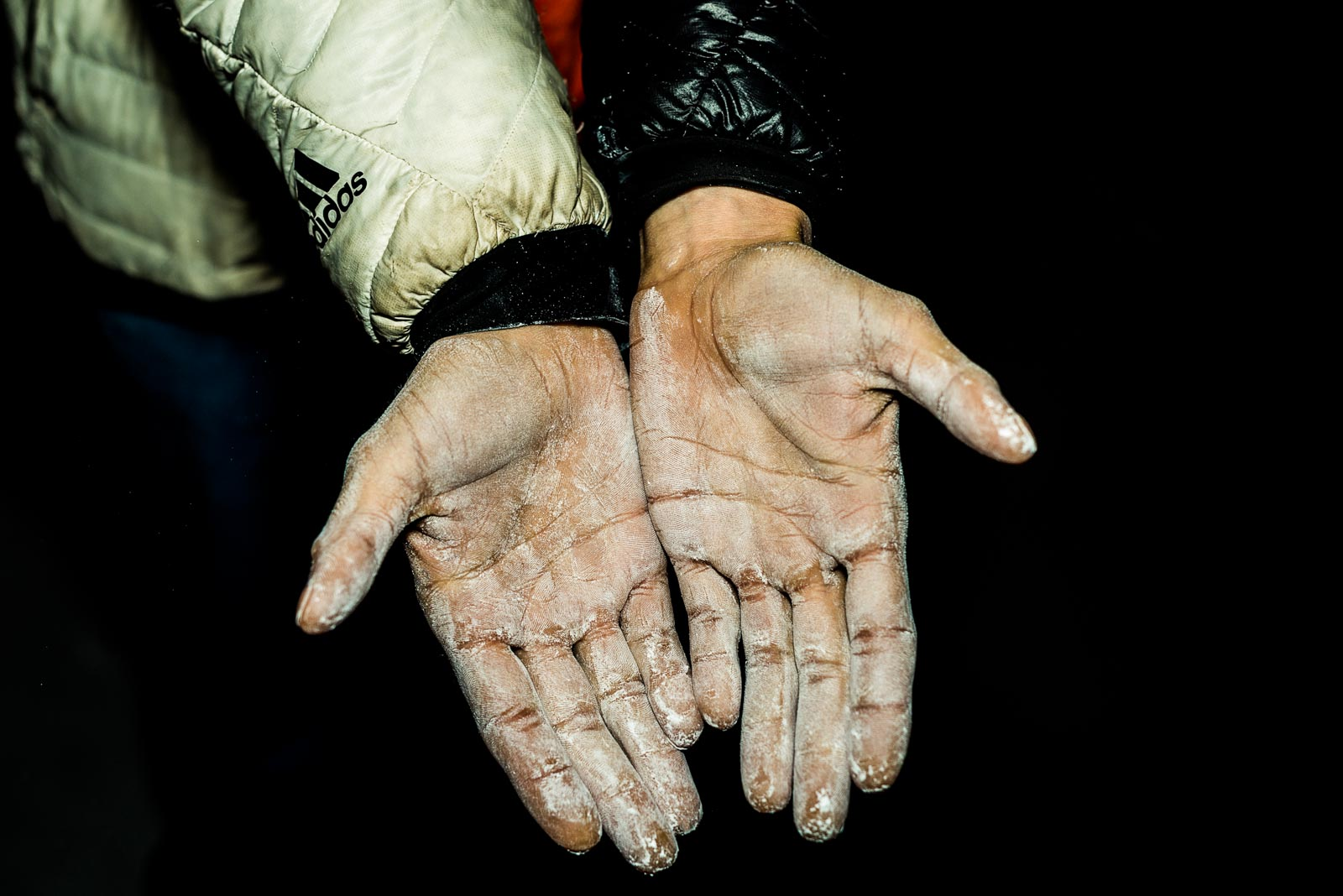 Hands of top French climber Mélissa Le Nevé