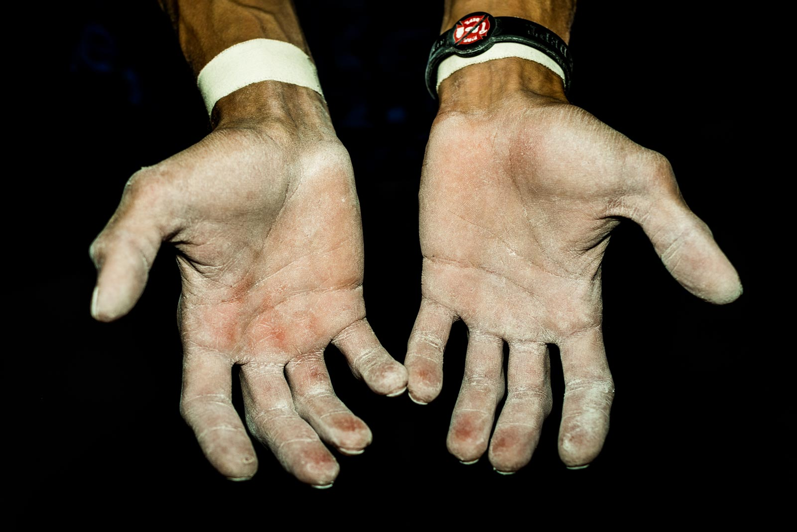 Hands of climber Rustam Gelmanov from Russia