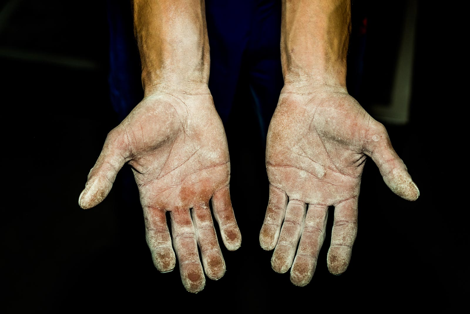 Hands of French climber Guillaume Glairon Mondet