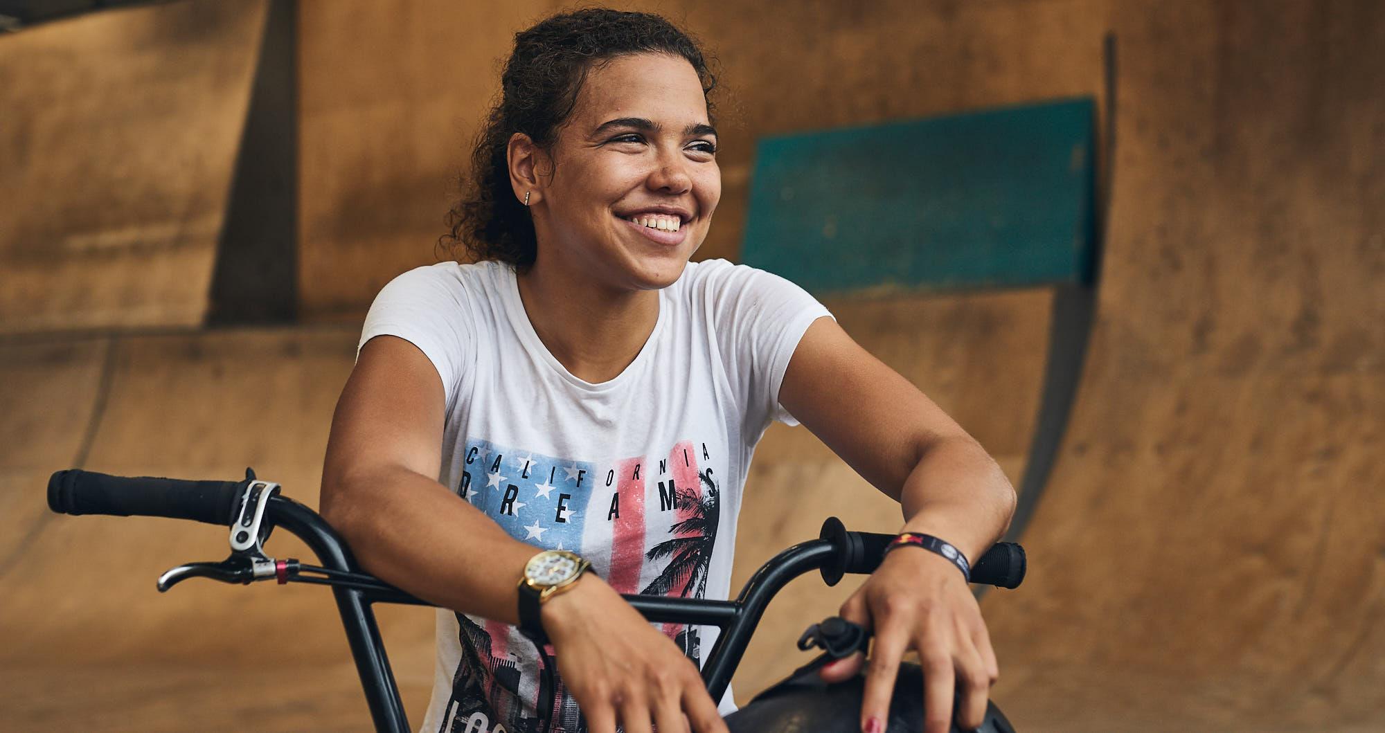 Portrait of BMX athlete Shanice Silva Cruz