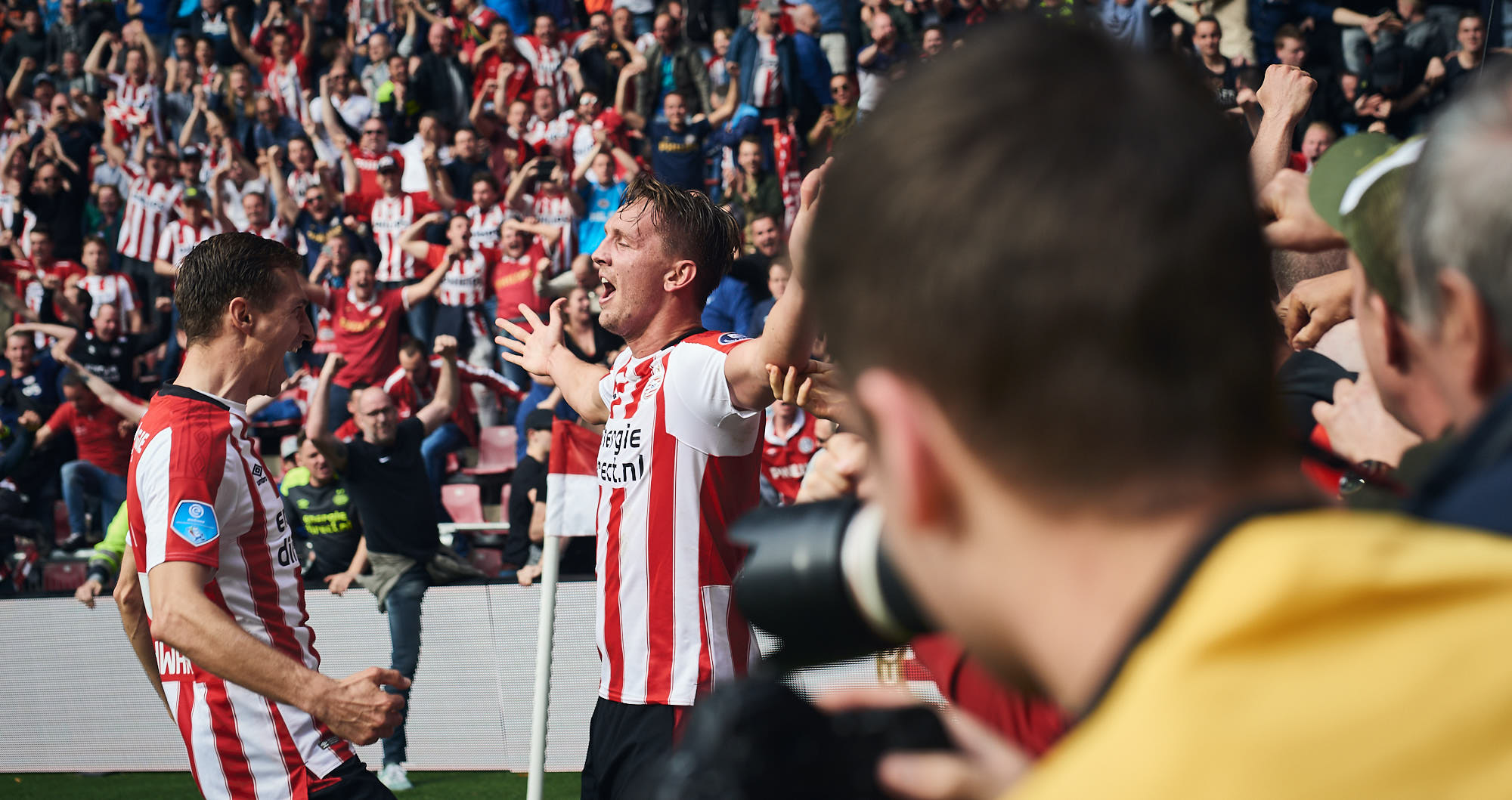 PSV Striker Luuk de Jong after having scored a goal against Ajax