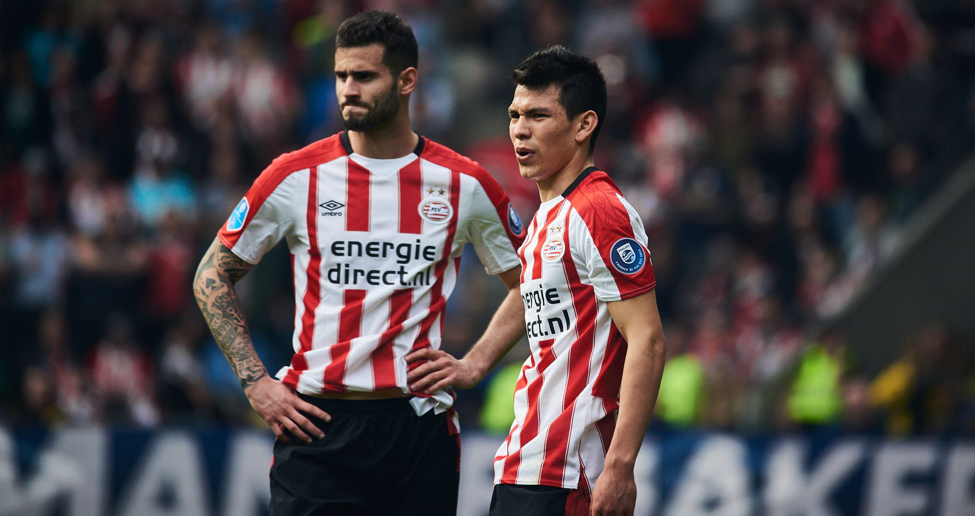 Concentration on the face of Mexican winger Hirving Lozano