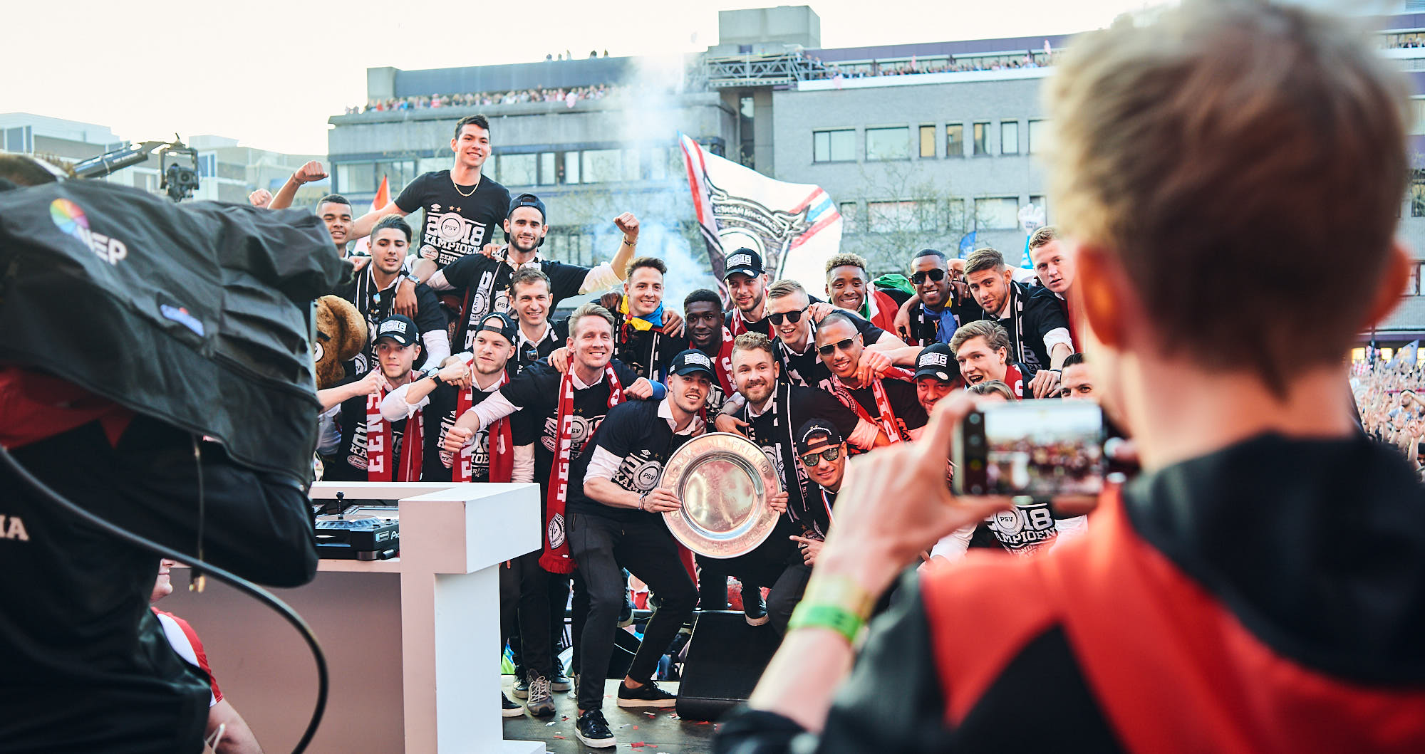 PSV Eindhoven football players make a group photo