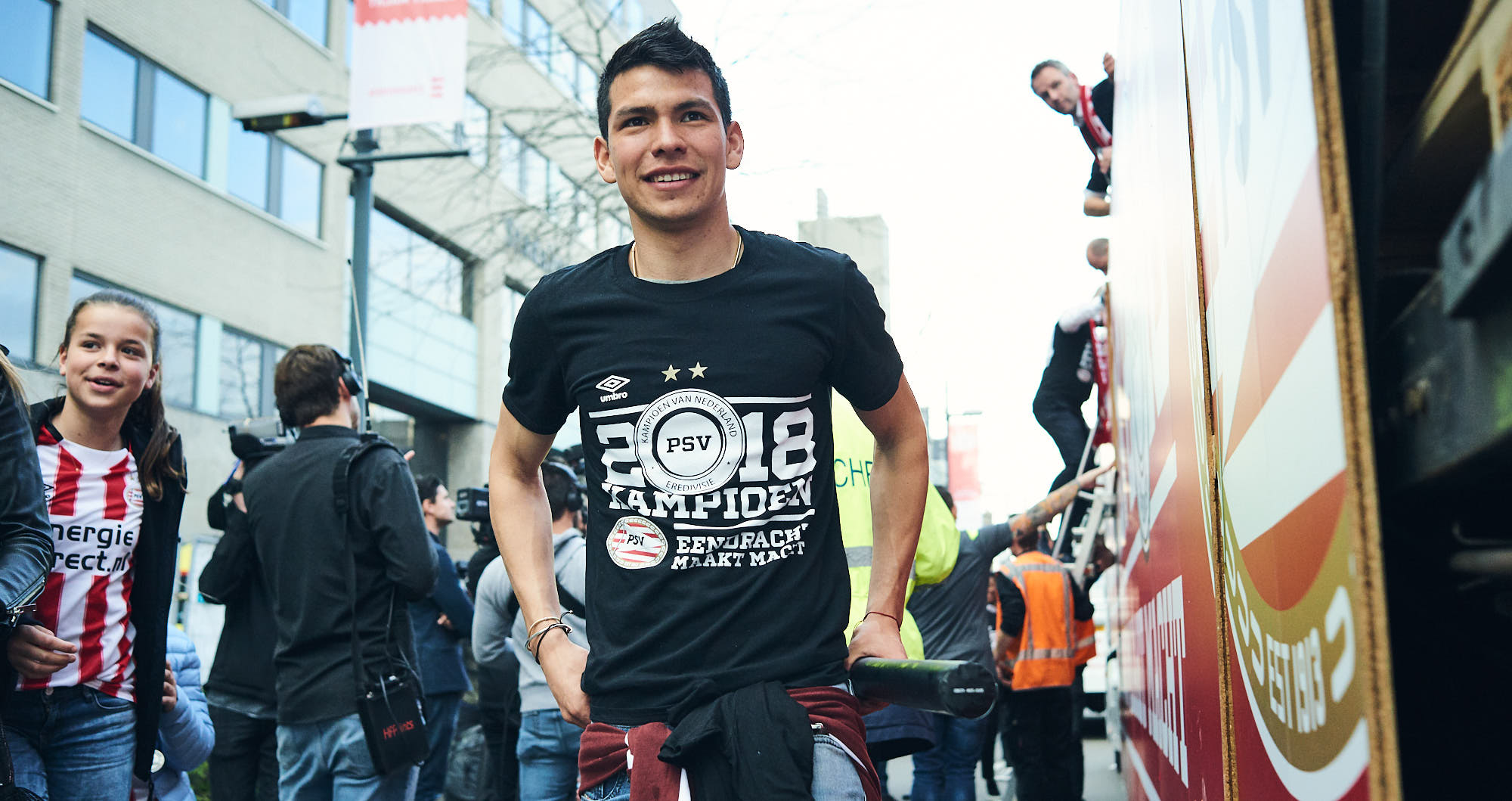 Mexican star Hirving Lozano during PSV Eindhoven's title celebrations