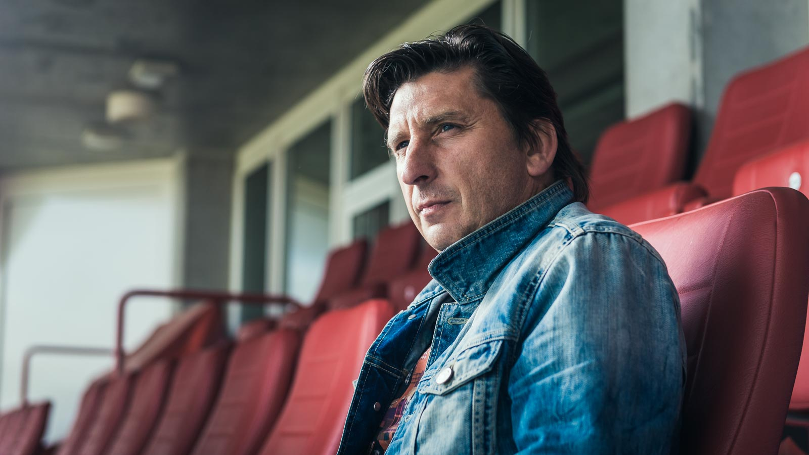 Portrait of famous striker Nilis in the Philips Stadium for a PSV Eindhoven marketing campaign