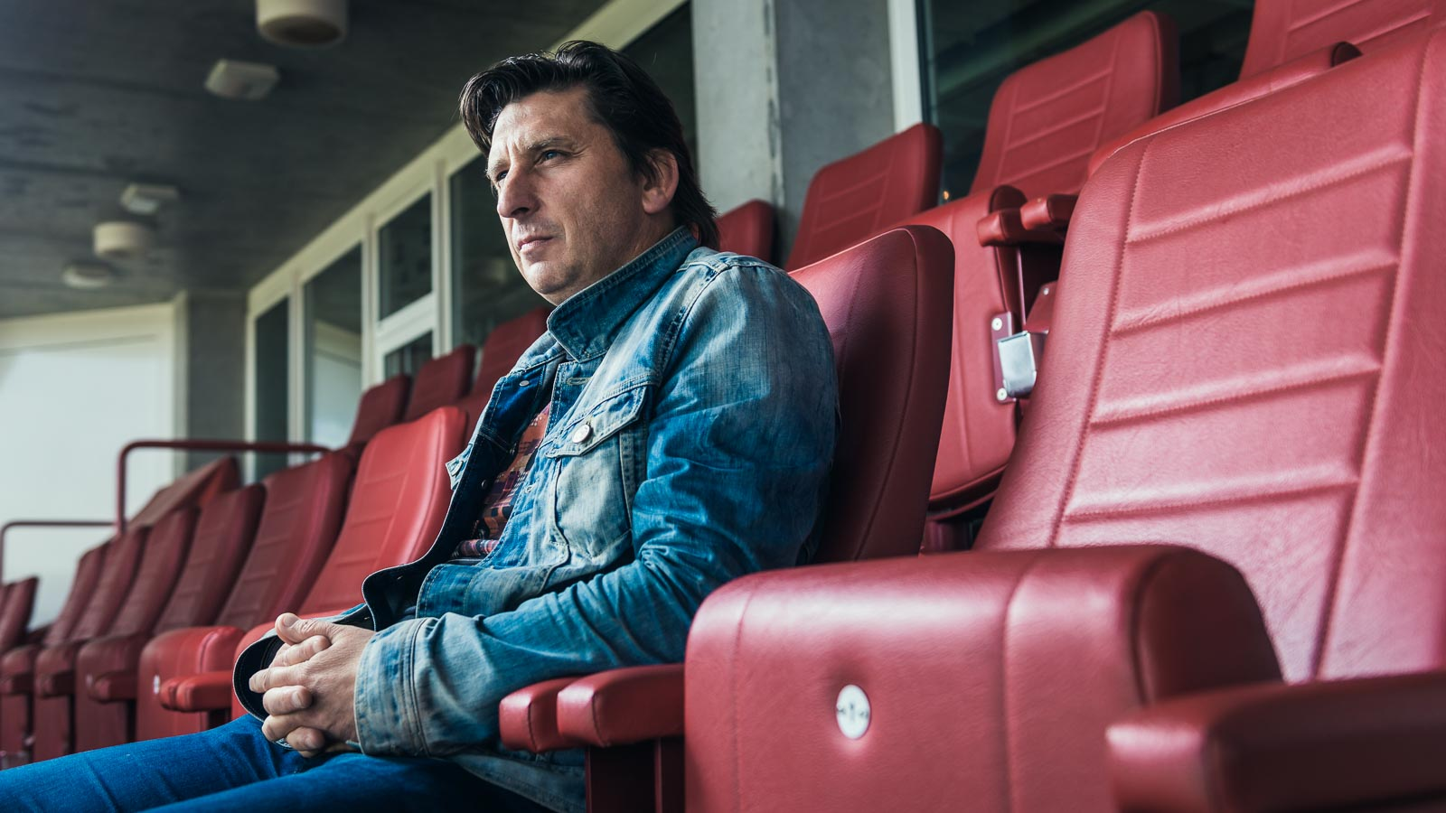 Portrait of former striker Luc Nilis in the Philips Stadium for a PSV Eindhoven marketing campaign