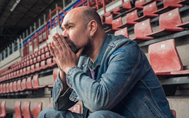 Portrait of actor Cees Geel in the Philips Stadium for a PSV Eindhoven marketing campaign