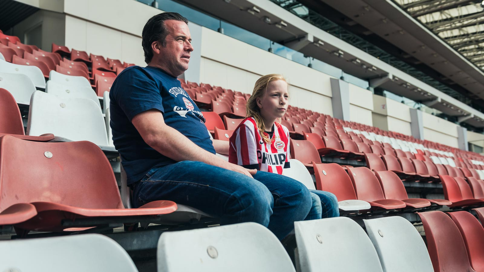 Father and daughter in the Philips Stadium for a PSV Eindhoven marketing campaign