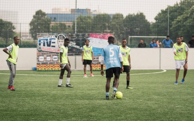 Solo football player at kick-off during Red Bull Neymar Jr's Five