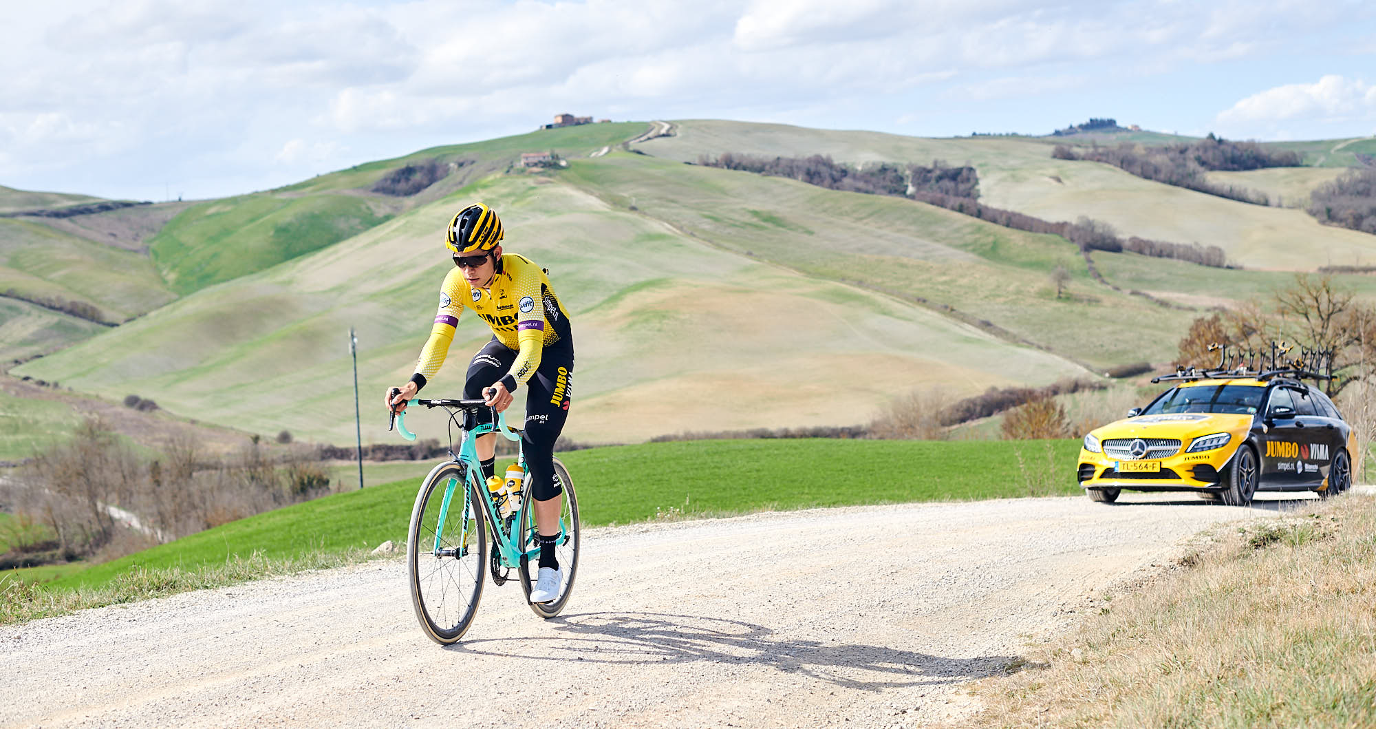 Wout van Aert during training for Strade Bianche