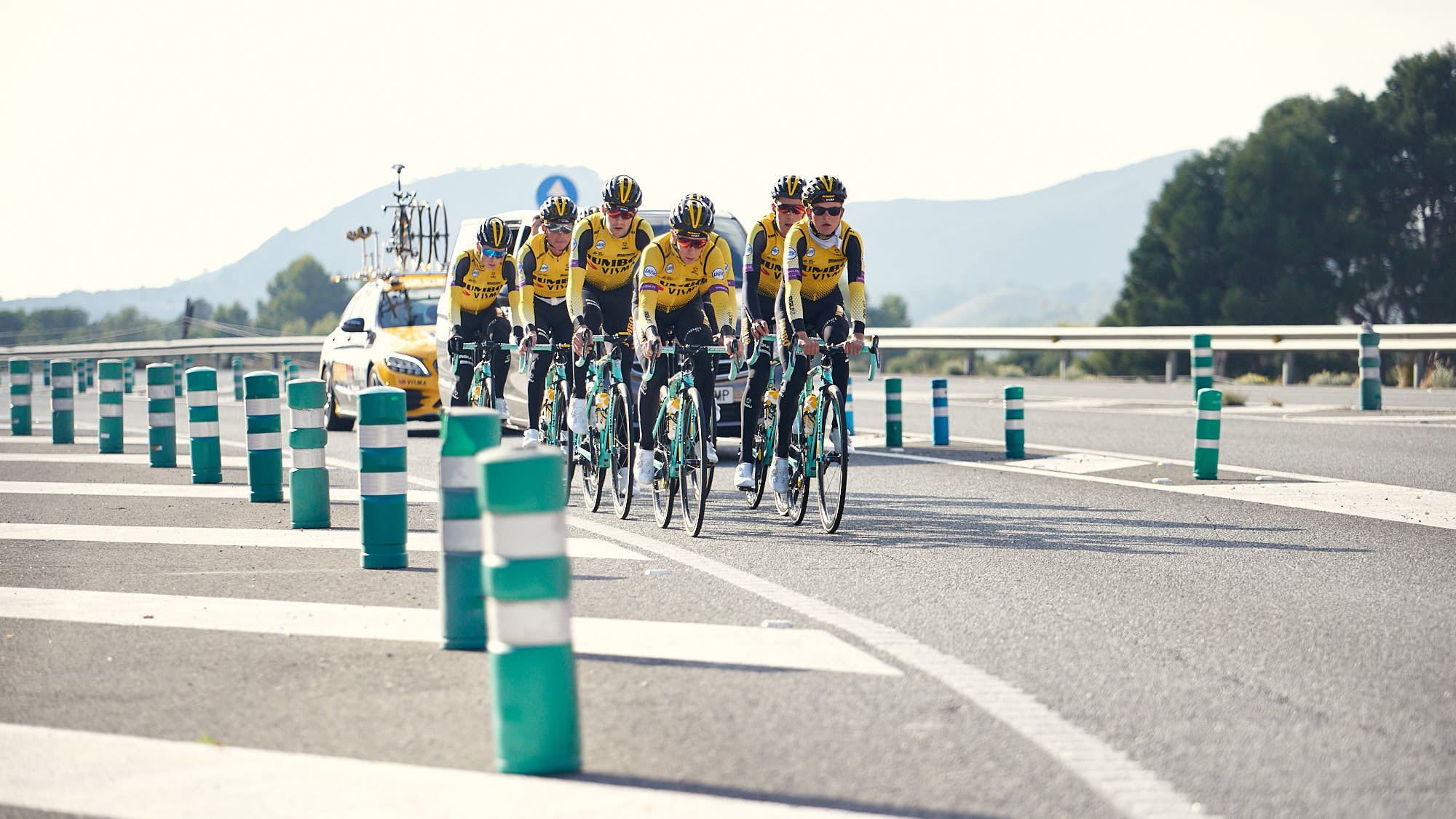 Group of World-Tour cyclists training near Alicante