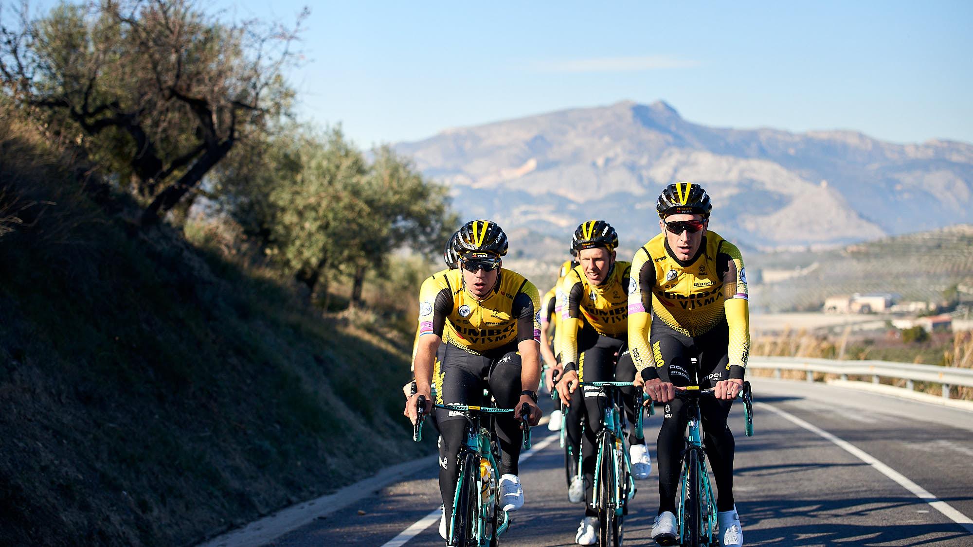Jumbo-Visma riders during training in Spain