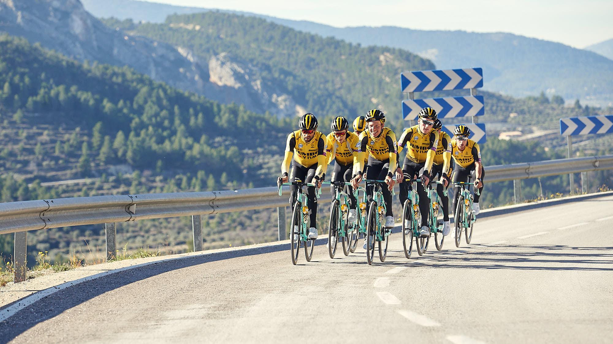 Group of Jumbo-Visma cyclists during training near Alicante