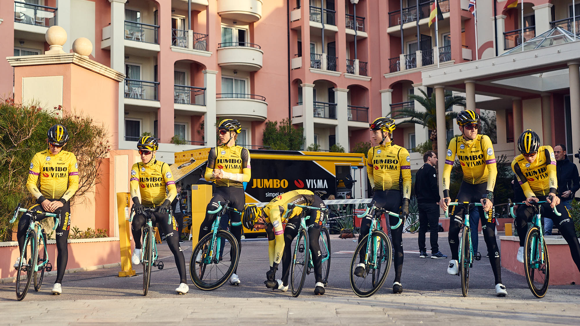 Jumbo-Visma cyclists before training in Alicante