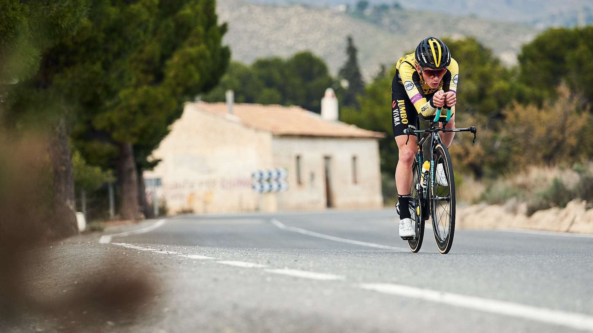Team Jumbo-Visma rider Koen Bouwman on a Bianchi time trial bike