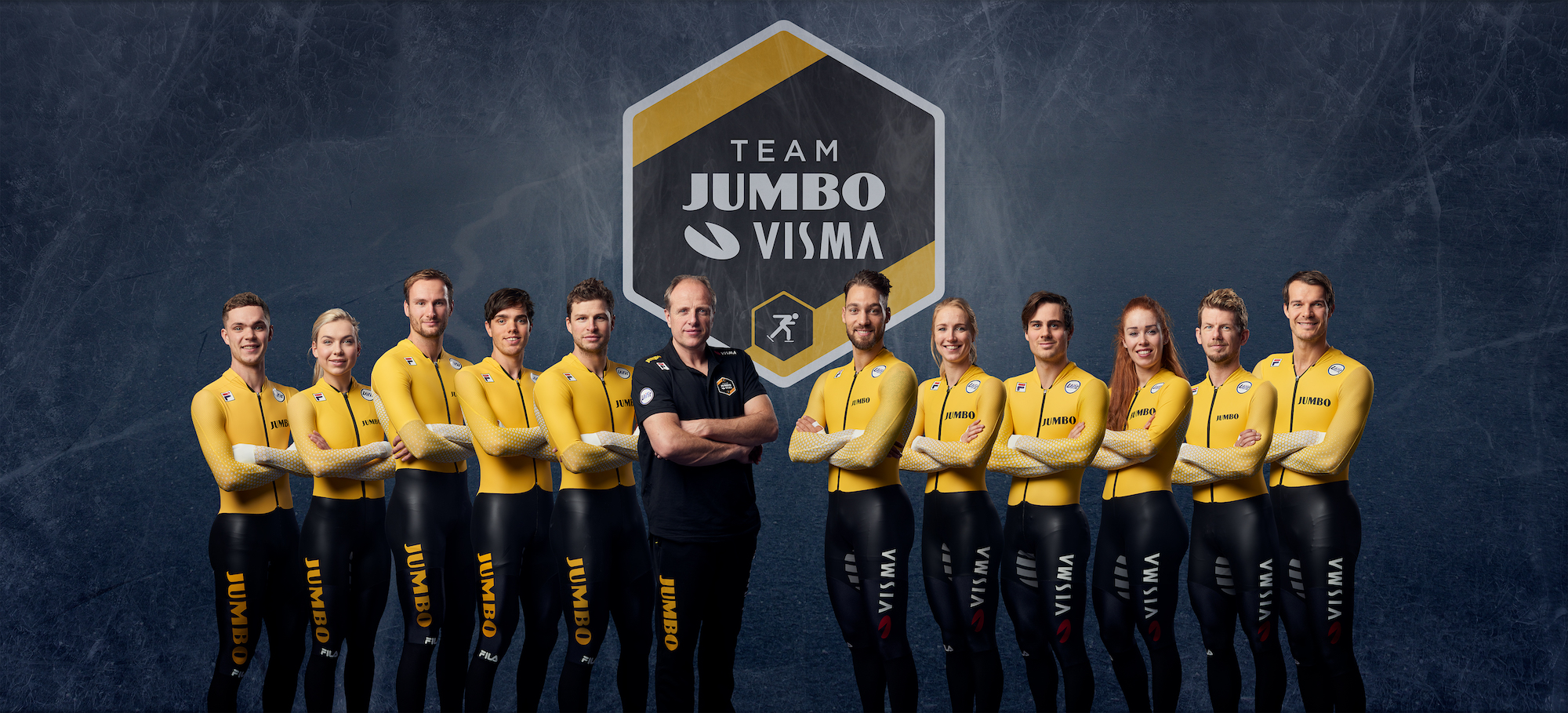 Group photo of the Jumbo-Visma ice skating team in 2019