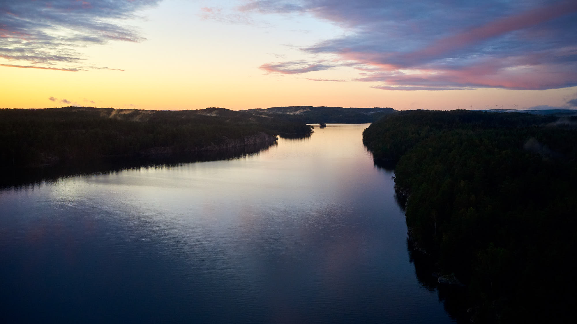 Dramatic sunset over a Swedish river