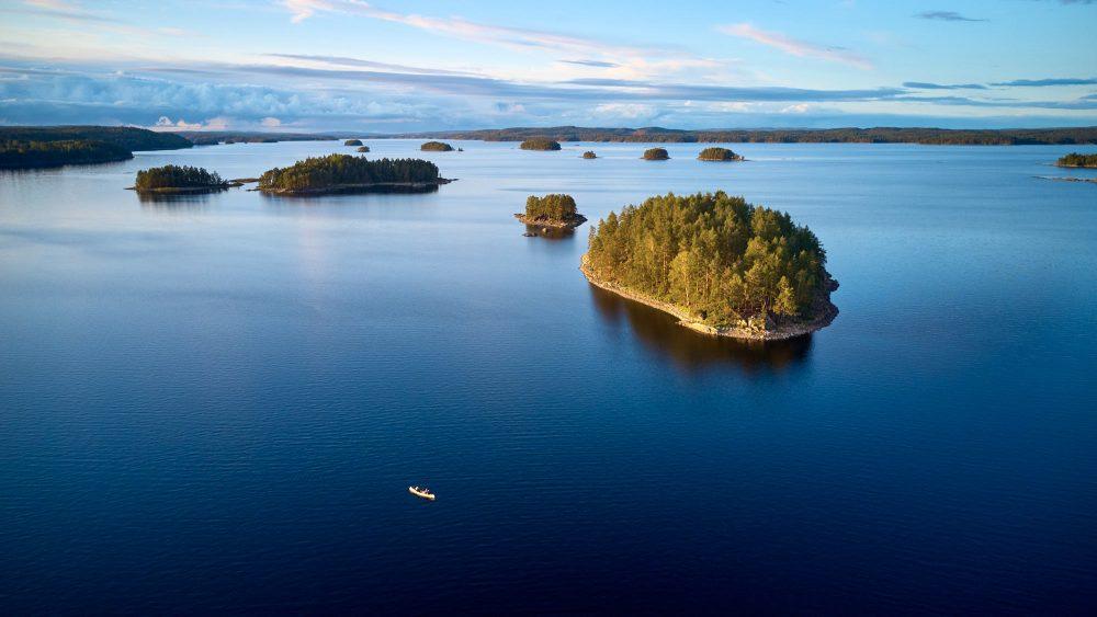 Group of small islands on a big Swedish lake