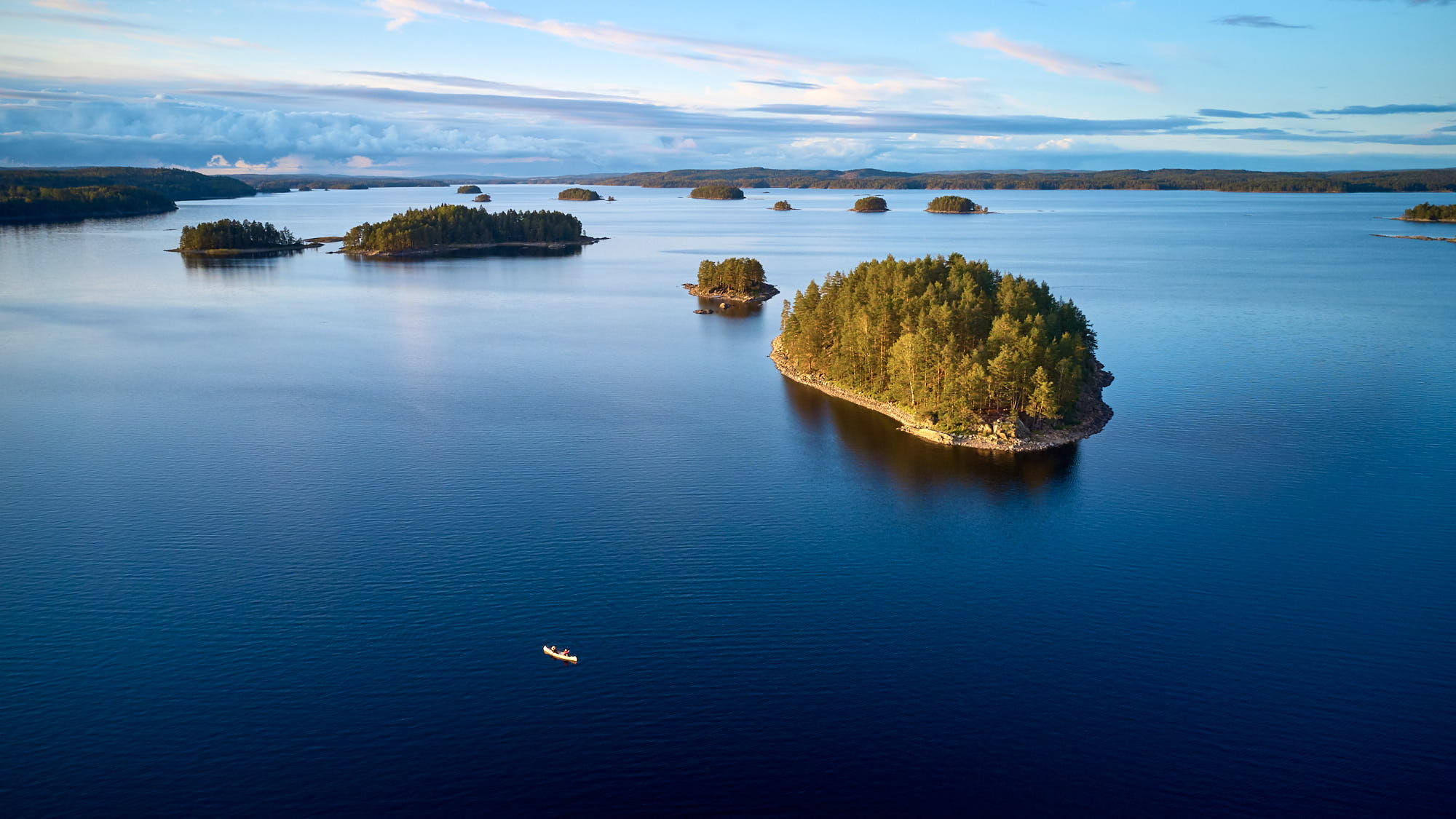 Group of small islands on a big Swedish lake
