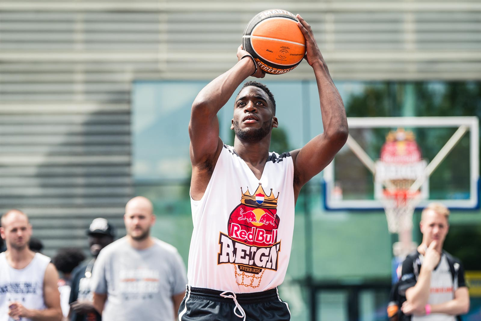 Basketball player taking a shot during Red Bull Reign