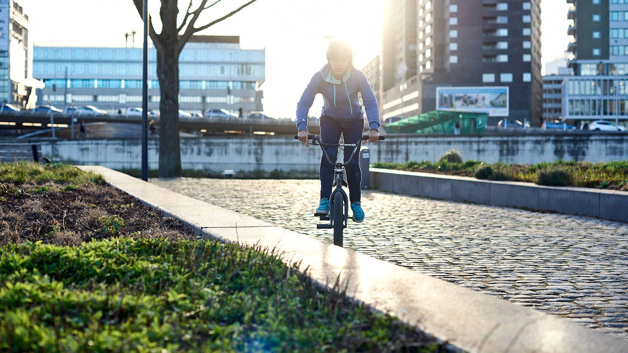 Shanice Silva Cruz in Rotterdam, riding her BMX