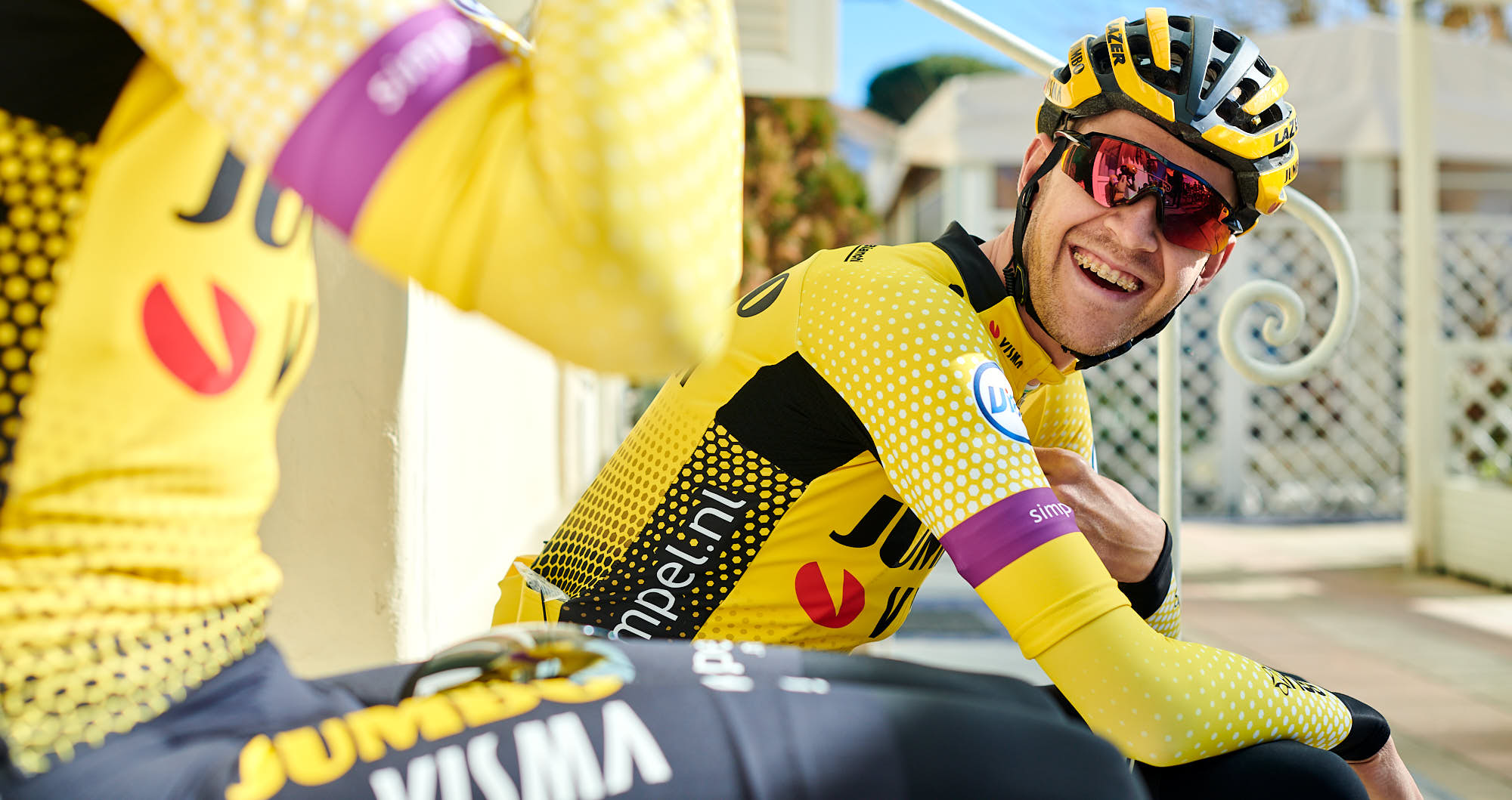 Belgian rider Laurens de Plus before training in Italy