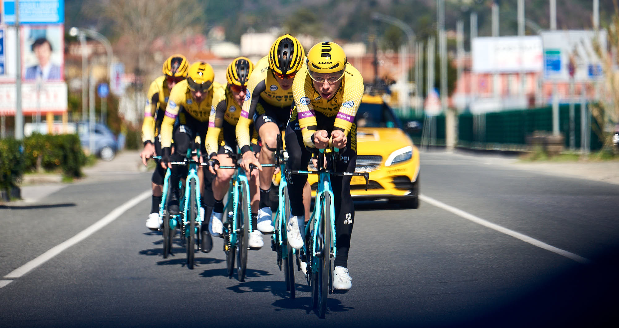 Jumbo-Visma cyclists training for team time trial in Italy