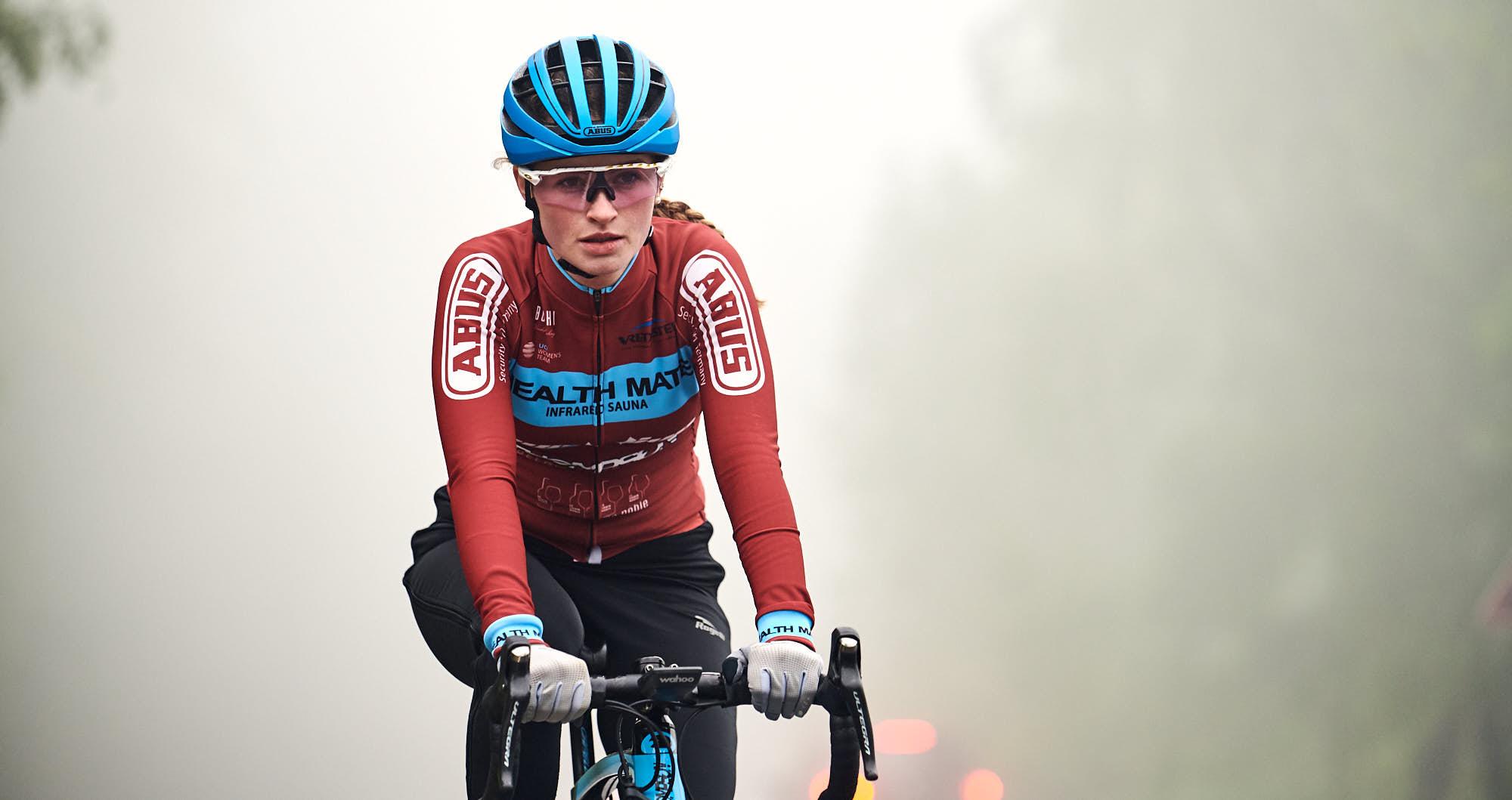 Close-up of Elodie Kuijper during training in Belgium