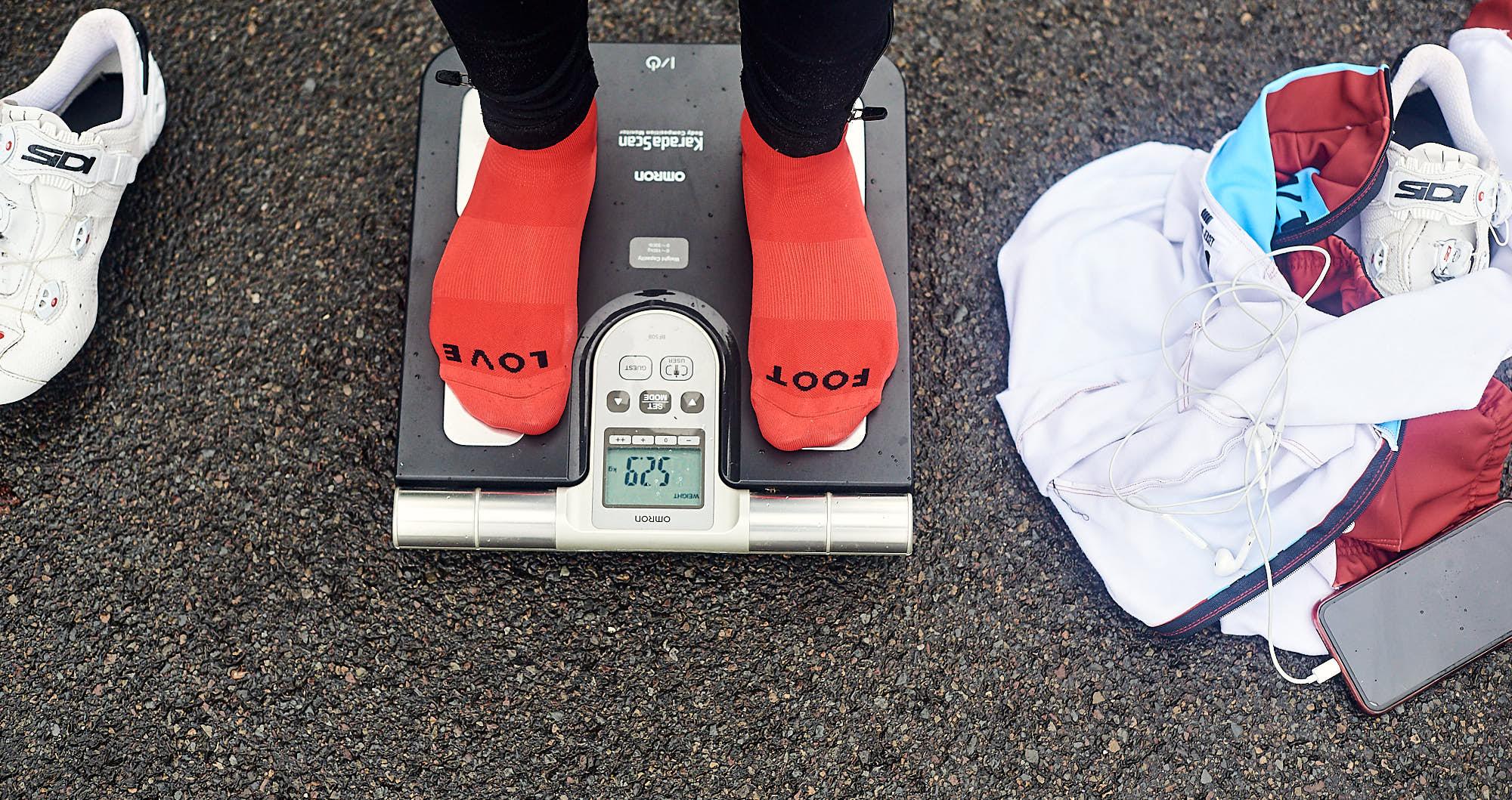 Cyclist's feet on a scale