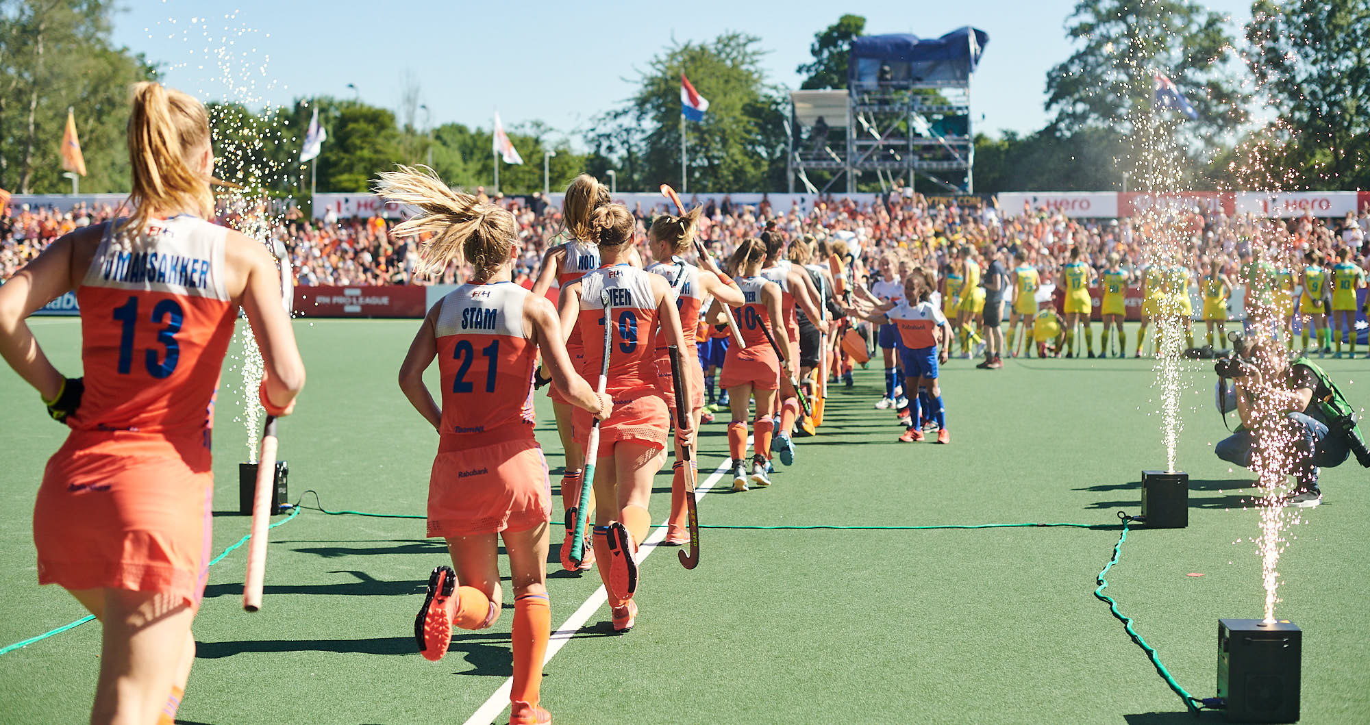 Holland national hockey team players before FIH Pro league finals in Amsterdam