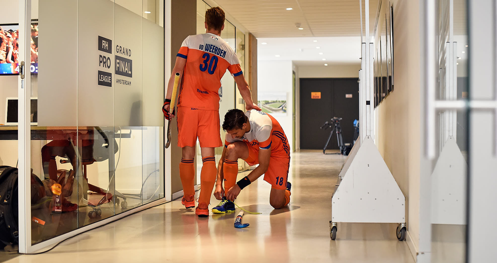 Dutch hockey players behind the scenes just before FIH pro league in Amsterdam