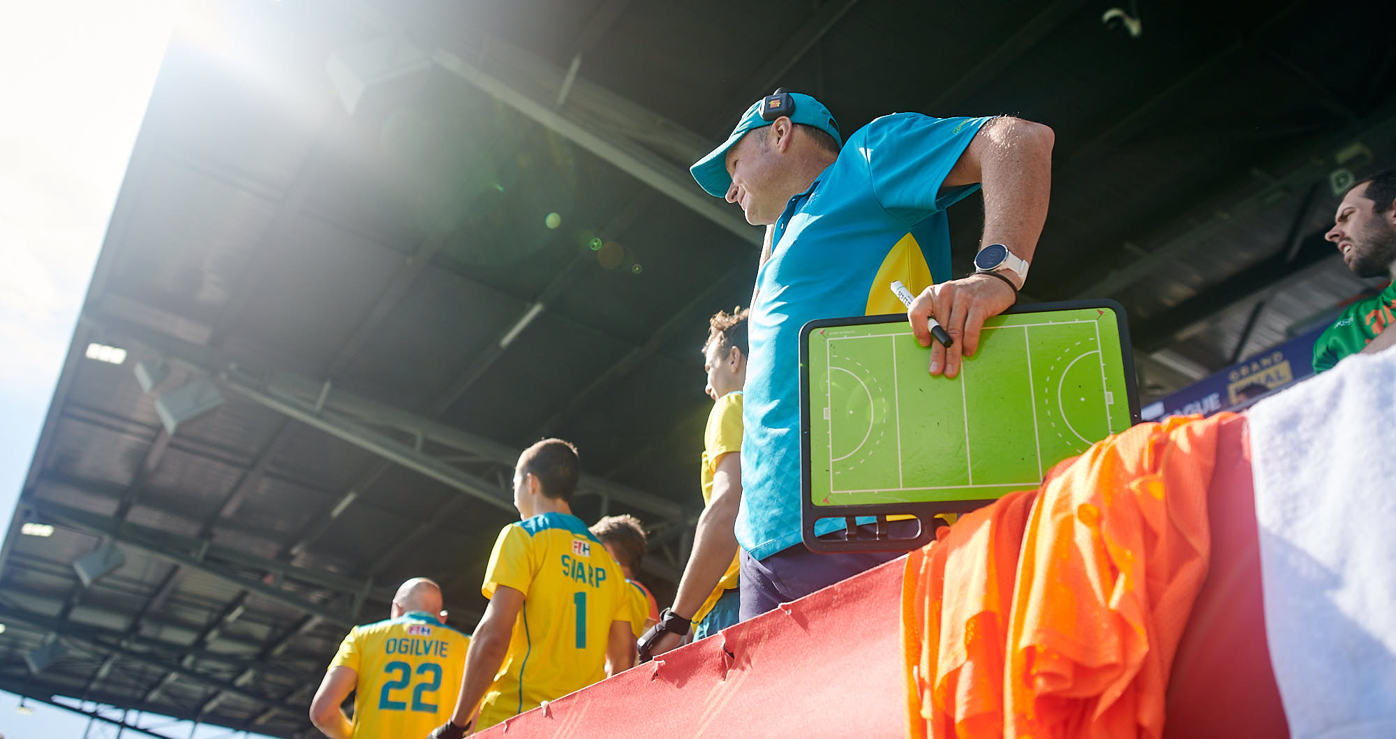 Australian national hockey team coach during the 2019 FIH Pro League Finals in Amsterdam