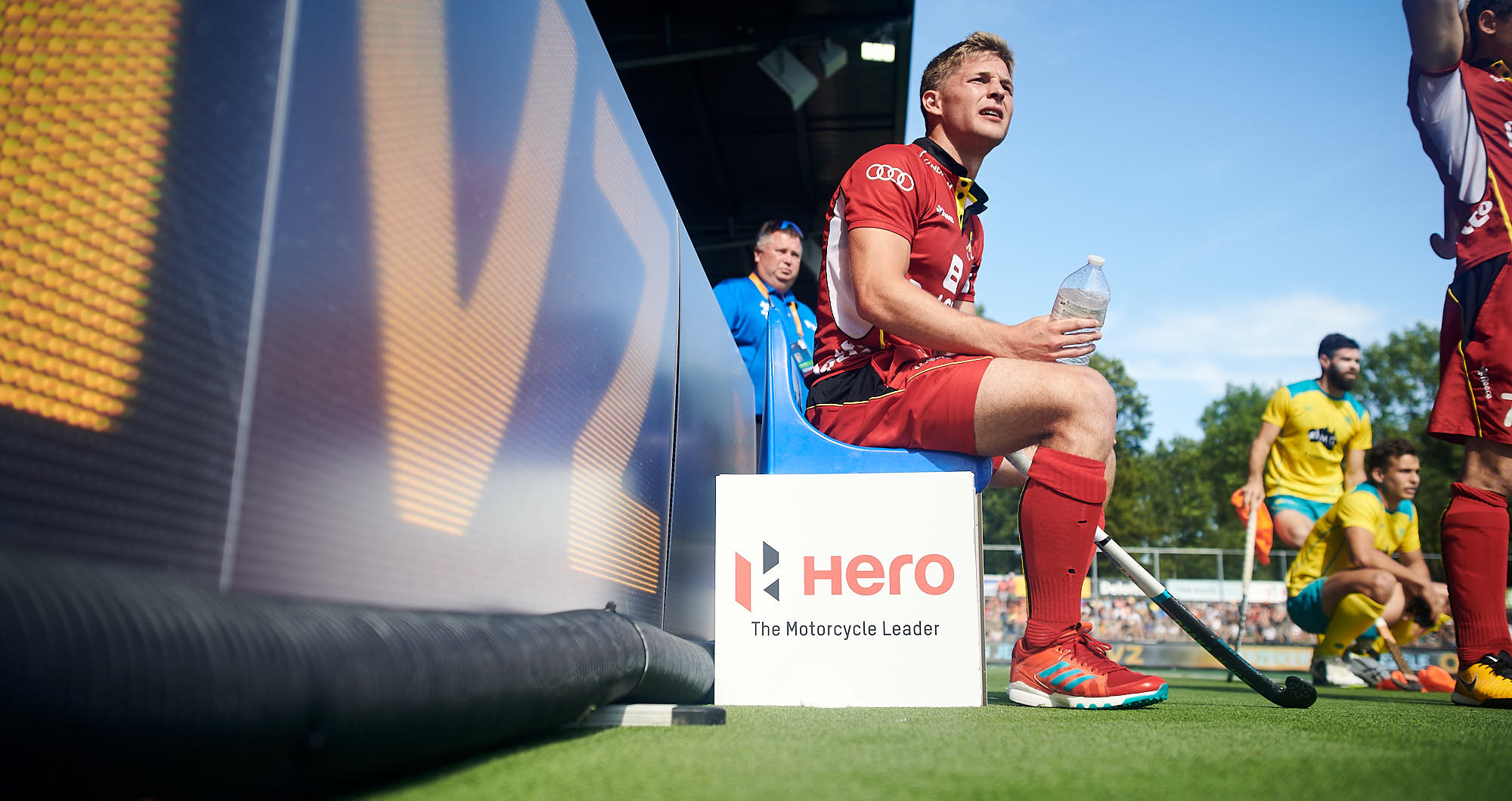 Belgium national hockey team benched for a foul during the 2019 FIH Pro League Finals in Amsterdam