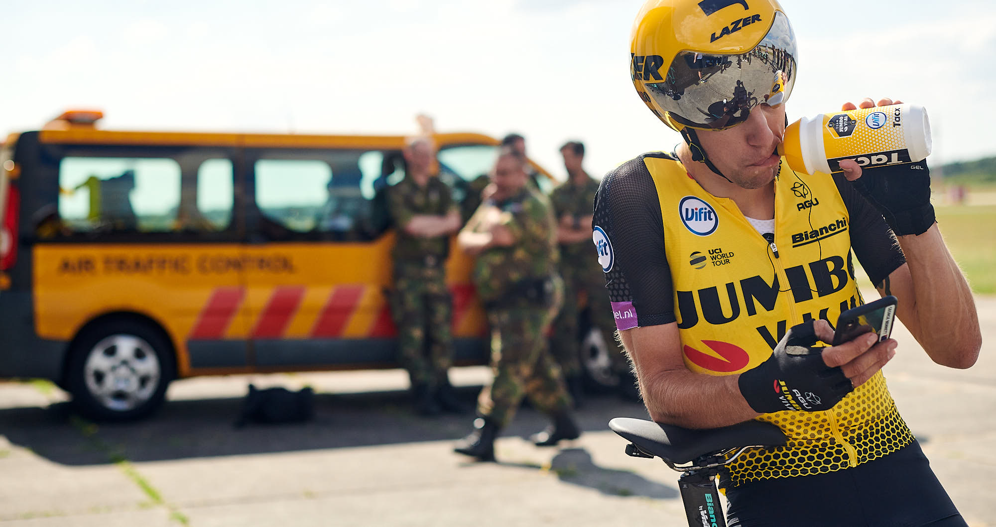 Jumbo-Visma rider George Bennett drinking after training