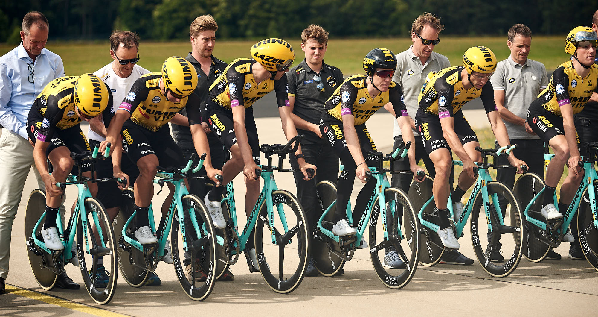 Jumbo-Visma cyclists preparing for time trial training