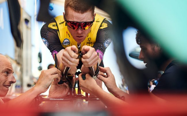 Steven Kruijswijk and Jumbo-Visma staff fine-tuning the cyclist's time trial bike