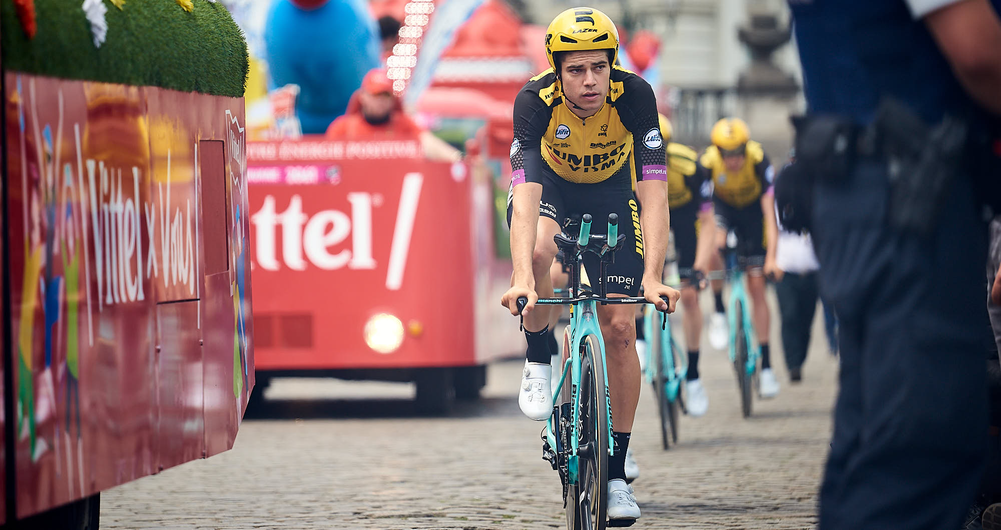Jumbo-Visma's Wout van Aert on a TT bike in Brussels during the Tour de France