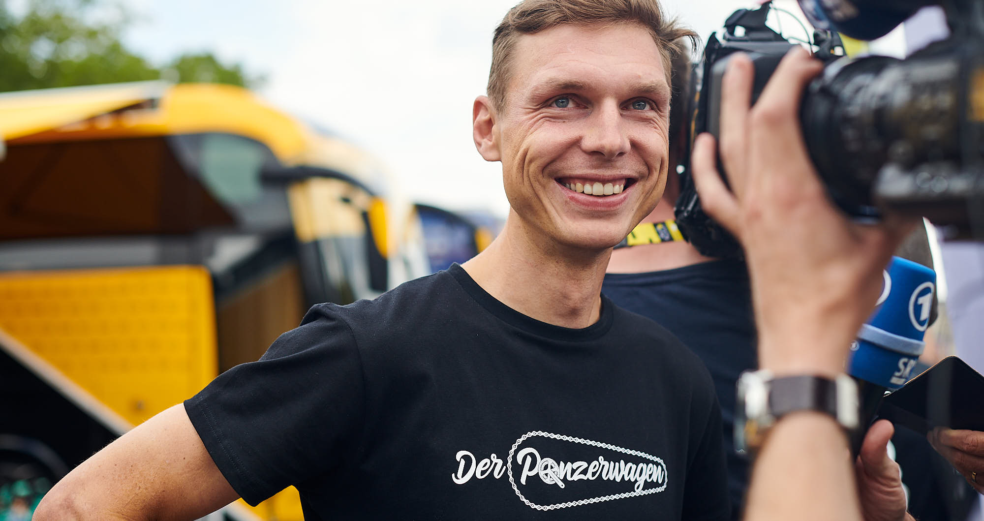 Tony Martin wearing a Panzerwagen shirt at the 2019 Tour de France