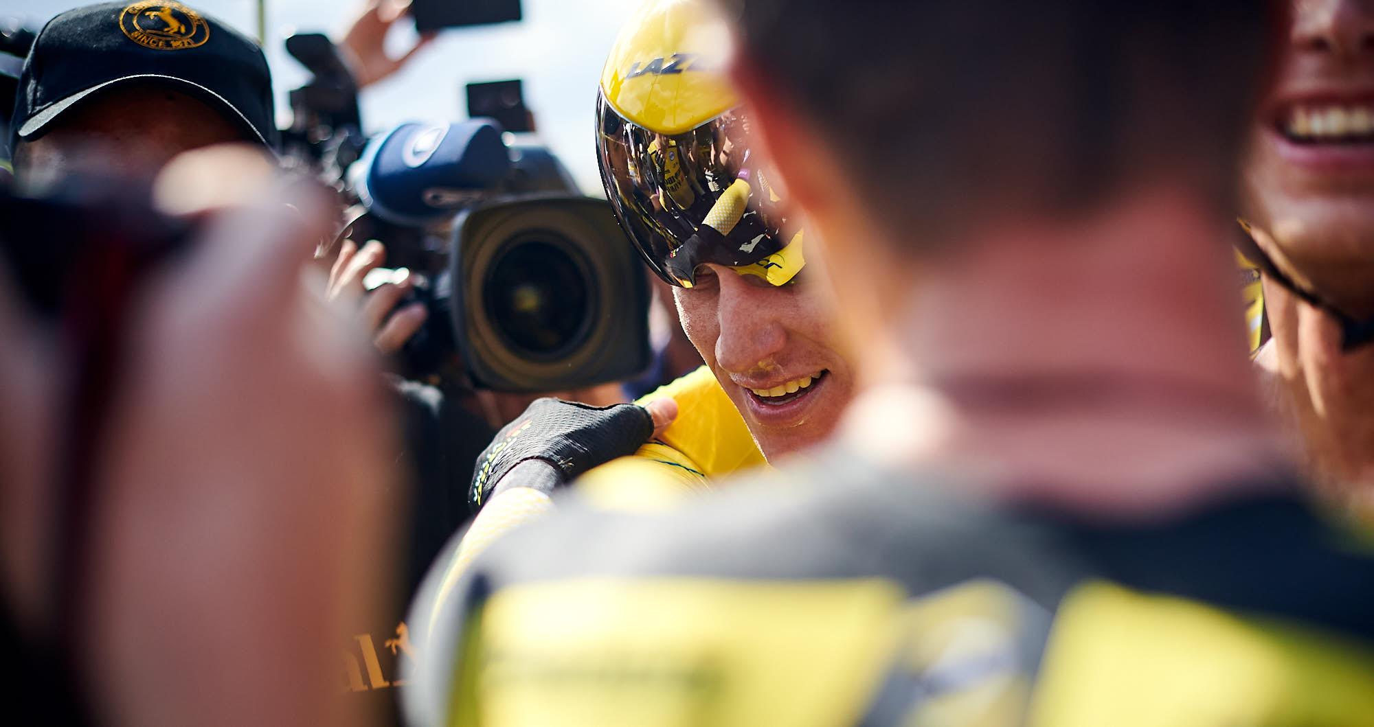 Mike Teunissen wearing the yellow jersey after the 2019 Tour de France time trial