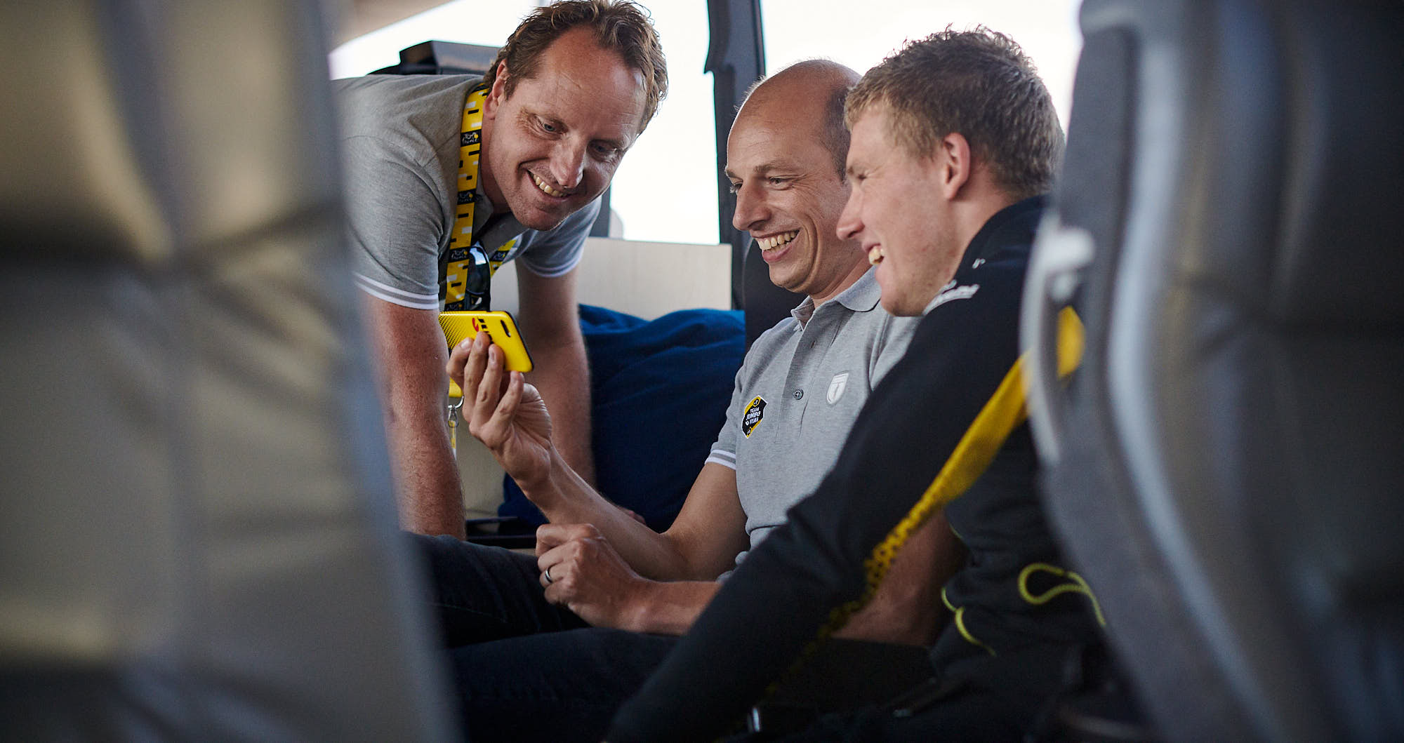 Mike Teunissen on the team bus after the team time trial in the Tour de France