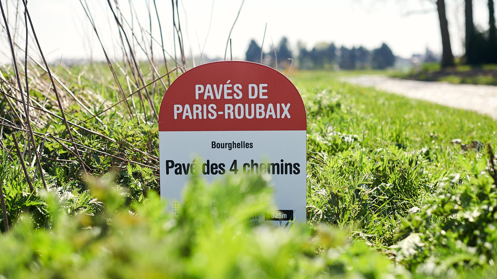 Paris-Roubaix cobbles section sign